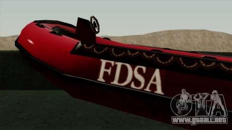 FDSA Dinghy para GTA San Andreas vista posterior izquierda
