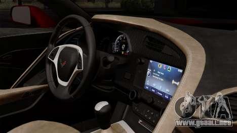 Chevrolet Corvette C7 Stingray 1.0.1 para GTA San Andreas vista hacia atrás