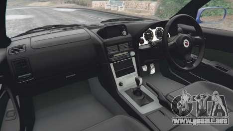 GTA 5 Nissan Skyline R34 GT-R v0.1 vista lateral trasera derecha