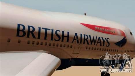 Boeing 747 British para GTA San Andreas vista hacia atrás