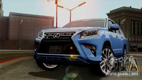 Lexus GX460 2014 v1 para GTA San Andreas vista hacia atrás