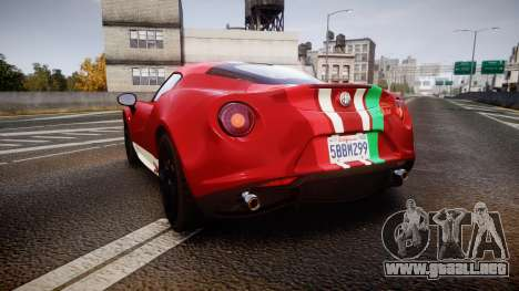 Alfa Romeo 4C 2014 SBK Safety Car para GTA 4 Vista posterior izquierda