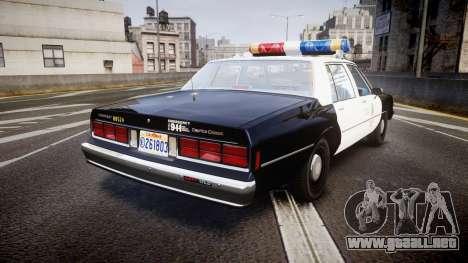 Chevrolet Caprice 1989 LAPD [ELS] para GTA 4 Vista posterior izquierda