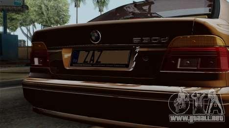 BMW 530D E39 2001 Stock para GTA San Andreas vista hacia atrás