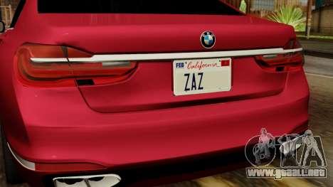 BMW 7 2015 para GTA San Andreas vista hacia atrás