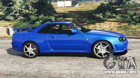 GTA 5 Nissan Skyline R34 GT-R v0.1 vista lateral izquierda