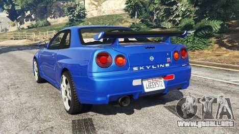 GTA 5 Nissan Skyline R34 GT-R v0.1 vista lateral izquierda trasera
