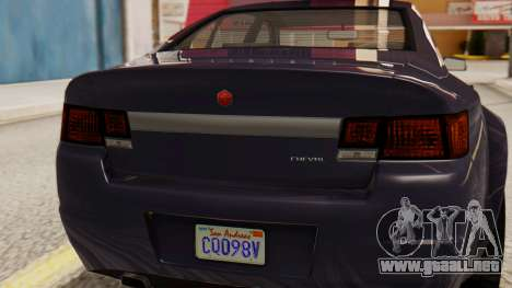 GTA 5 Cheval Fugitive IVF para GTA San Andreas vista hacia atrás