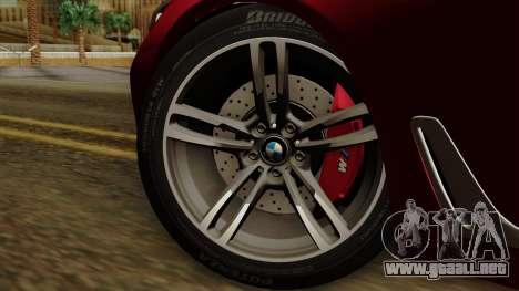 BMW 7 2015 para GTA San Andreas vista posterior izquierda