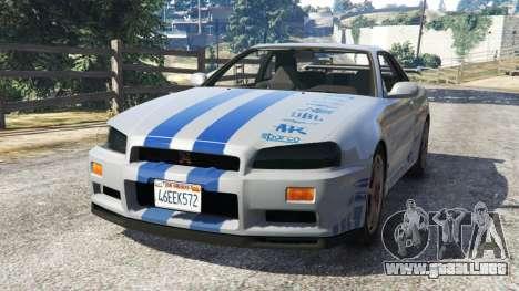 Nissan Skyline R34 GT-R 2002 Fast and Furious para GTA 5