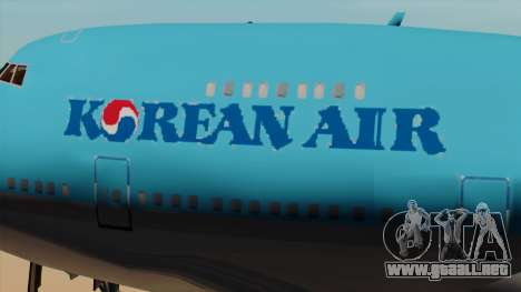 Boeing 747 Korean Air para GTA San Andreas vista hacia atrás