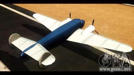 Bombardero de la v1.0 para GTA San Andreas vista posterior izquierda