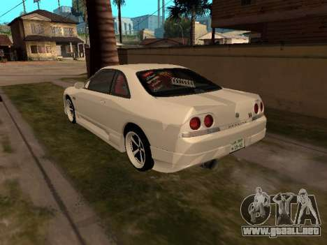 Nissan Skyline R33 Drift Monster Energy JDM para GTA San Andreas vista posterior izquierda