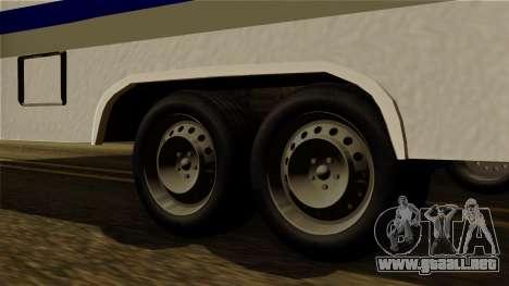 Camper Trailer para GTA San Andreas vista posterior izquierda