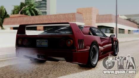 Ferrari F40 1987 without Up Lights IVF para GTA San Andreas left