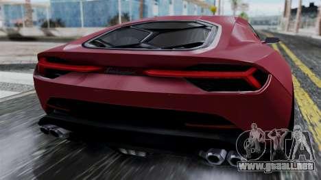 Lamborghini Asterion 2015 Concept para GTA San Andreas vista hacia atrás