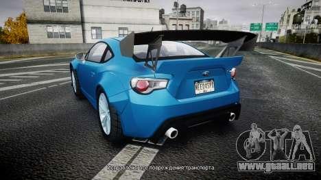 Subaru BRZ Rocket Bunny para GTA 4 Vista posterior izquierda