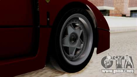 Ferrari F40 1987 without Up Lights IVF para GTA San Andreas vista posterior izquierda