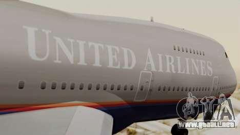 Boeing 747 United Airlines para GTA San Andreas vista hacia atrás