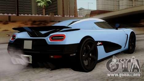 Koenigsegg Agera R 2014 Carbon Wheels para GTA San Andreas left