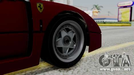 Ferrari F40 1987 with Up Lights IVF para GTA San Andreas vista posterior izquierda