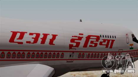 Boeing 747-200 Air India VT-ECG para GTA San Andreas vista hacia atrás