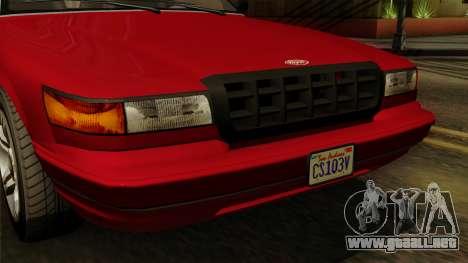 GTA 5 Vapid Stanier I IVF para GTA San Andreas vista hacia atrás