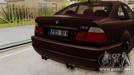 BMW M3 E46 2005 Stock para GTA San Andreas vista hacia atrás