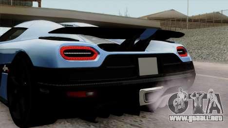 Koenigsegg Agera R 2014 Carbon Wheels para GTA San Andreas vista hacia atrás