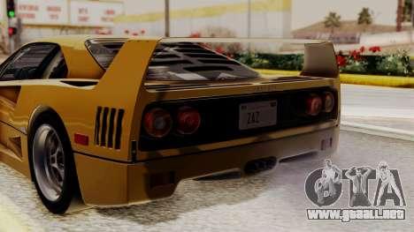 Ferrari F40 1987 HQLM para GTA San Andreas vista hacia atrás