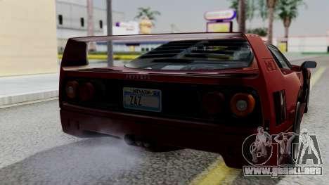 Ferrari F40 1987 with Up Lights IVF para GTA San Andreas vista hacia atrás