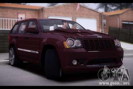 Jeep Grand Cherokee SRT8 2008 para GTA San Andreas vista posterior izquierda