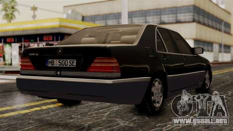 Mercedes-Benz W140 500SE 1992 para GTA San Andreas left