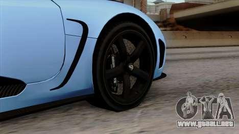 Koenigsegg Agera R 2014 Carbon Wheels para GTA San Andreas vista posterior izquierda
