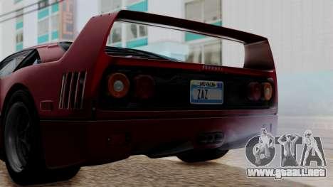 Ferrari F40 1987 without Up Lights IVF para visión interna GTA San Andreas