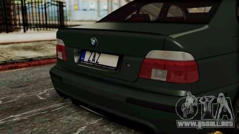 BMW 530D E39 1999 Mtech para GTA San Andreas vista hacia atrás