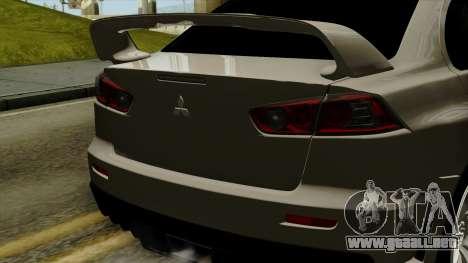 Mitsubishi Lancer Evolution X FQ400 Pro para GTA San Andreas vista hacia atrás