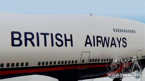 Boeing 747 British Airlines (Landor) para GTA San Andreas vista hacia atrás