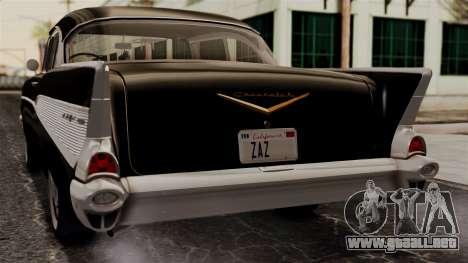 Chevrolet Bel Air Sport Coupe (2454) 1957 IVF para GTA San Andreas vista hacia atrás