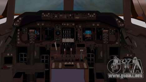 Boeing 747-400 Dreamliner Livery para GTA San Andreas vista hacia atrás