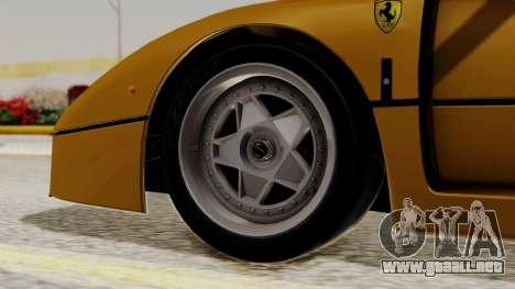 Ferrari F40 1987 HQLM para GTA San Andreas vista posterior izquierda