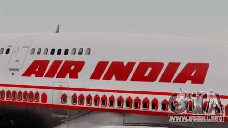 Boeing 747-400 Air India Old para GTA San Andreas vista hacia atrás