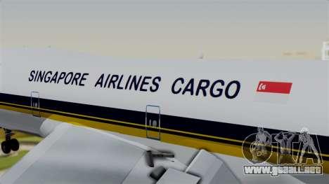 Boeing 747 Singapore Cargo para GTA San Andreas vista hacia atrás