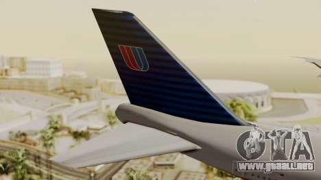 Boeing 747 United Airlines para GTA San Andreas vista posterior izquierda