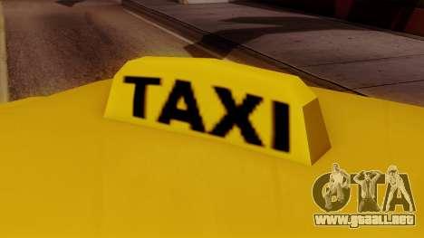 Elegant Taxi para GTA San Andreas vista posterior izquierda