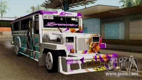 Znranomics - Costum Jeepney (Gabshop) para la visión correcta GTA San Andreas