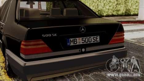 Mercedes-Benz W140 500SE 1992 para GTA San Andreas vista hacia atrás