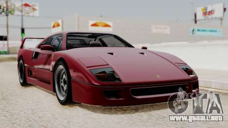 Ferrari F40 1987 without Up Lights IVF para GTA San Andreas