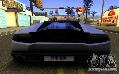 Lamborghini Huracan LP610 VELLANO para vista lateral GTA San Andreas