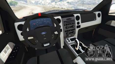 GTA 5 Ford F-150 SVT Raptor 2012 v2.0 delantero derecho vista lateral